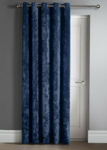 "Contemporary Crushed Velvet Ring Top Eyelet One Door Curtain Panel, 46"" X 84"" Navy Blue"